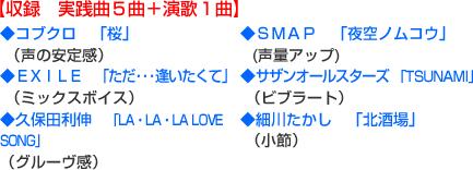 【収録 実践曲5曲+演歌1曲】コブクロ 「桜」(声の安定感)EXILE 「ただ・・・逢いたくて」(ミックスボイス)久保田利伸 「LA・LA・LA LOVE SONG(グルーヴ感)SMAP 「夜空ノムコウ」(声量アップ)サザンオールスターズ 「TSUNAMI」(ビブラート)細川たかし 「北酒場」(小節)